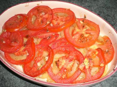 Tortino di pomodori e patate al forno