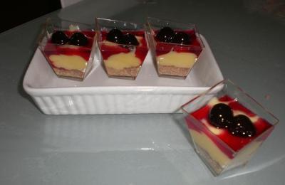 Dessert alla crema, amarena e gianduia