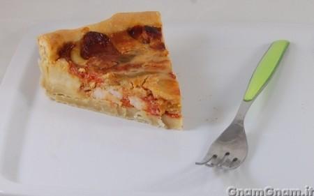 Torta salata con pollo e peperoni