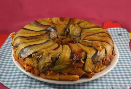 Timballo in crosta di zucchine e melanzane