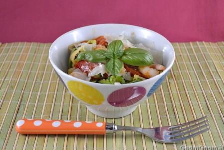 Spaghetti di zucchine e gamberi