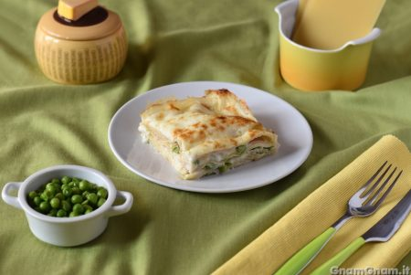 Lasagne prosciutto e piselli